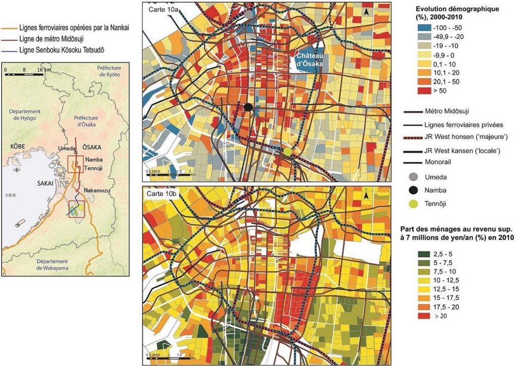 6. Évolution démographique par quartier du centre d'Ōsaka et part des ménages au revenu supérieur à 7 millions de yen (56 000 €) par an (Buhnik, 2015).