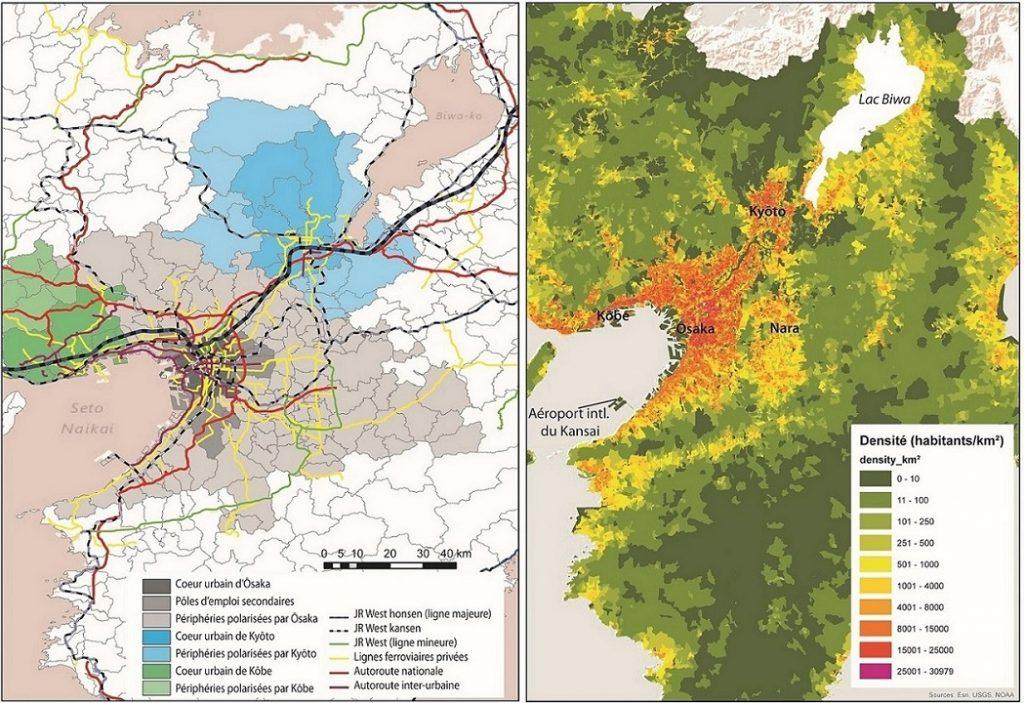 Ōsaka-Kyōto-Kōbe, une agglomération de 20 millions d'habitants en 2010, structurée autour d'un réseau routier et ferroviaire étoffé. À droite, les densités moyennes par quartier (Buhnik, 2014).