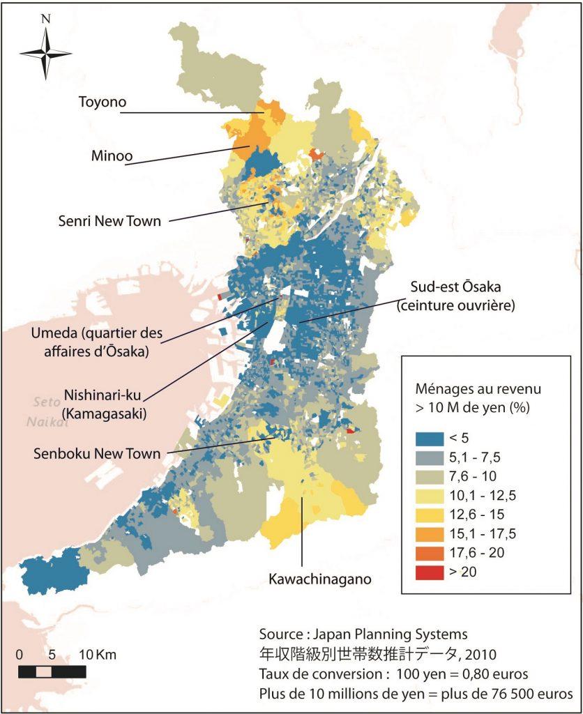 La répartition des ménages gagnant plus de 10 millions de yen par an en 2010 dans la Préfecture d'Ōsaka, en pourcentage de la population par quartier (Buhnik, 2015 à partir de JPS co.ltd.)