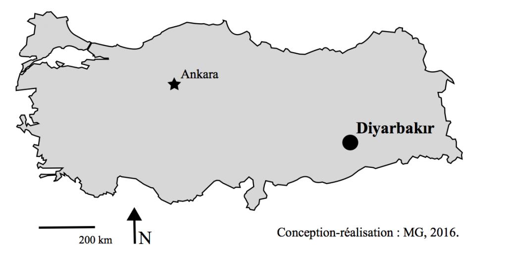 1. Carte de localisation : Diyarbakır dans le territoire de la République de Turquie (Gosse, 2016).