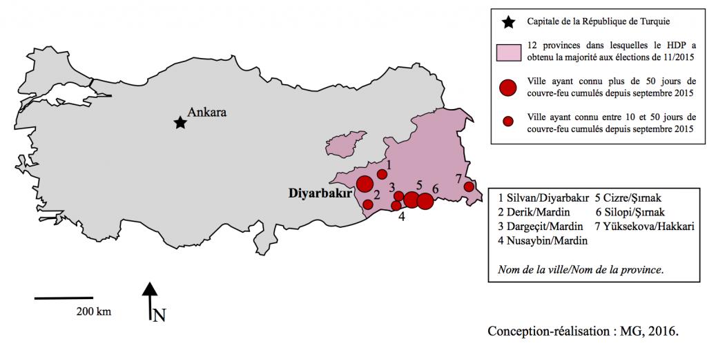 5. Les couvre-feux dans les villes kurdes de Turquie entre septembre 2015 et février 2016 (Gosse, 2016).