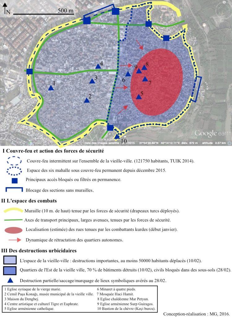 11. Couvre-feu, conflit armé et urbicide à Sur, décembre 2015-février 2016- base Google Earth (Gosse, 2016).