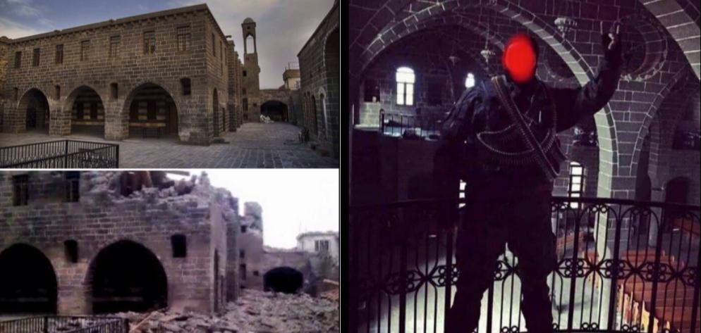 15. À g., l'église arménienne catholique, avant et après les combats. À d., policier faisant le signe des loups gris dans l'église arménienne Surp Guiragos (captures d'écran Instagram, 2016).