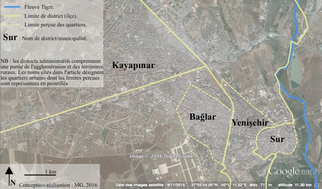 2. L'agglomération de Diyarbakır : quartiers et limites administratives-base Google Earth (Gosse, 2016).