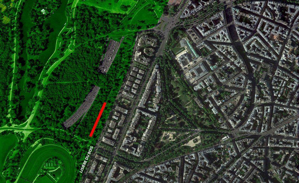 1. Plan de situation. L'emprise du Centre d'Hébergement Provisoire est signalée en rouge. (moonarchitectures, 2015)