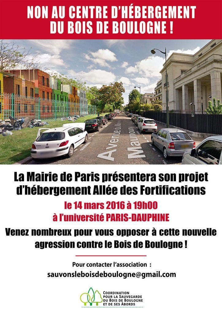 4. Tract avec image de synthèse non-validée par les architectes (association « sauvons le bois de Boulogne », 2016)