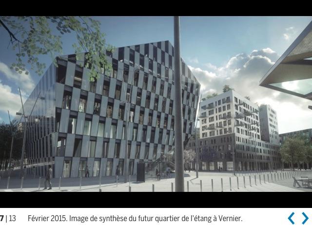 5. «Une structure urbaine plus contemporaine» (copie d'écran du site de La Tribune de Genève: À Vernier, le quartier de l'Étang a trouvé le moyen de construire vite, 26.02.2015)