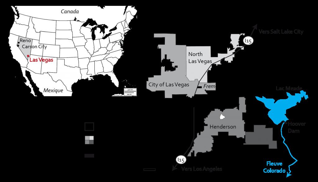 1. Localisation des quartiers touristiques végasiens (P. Nédélec, 2016)