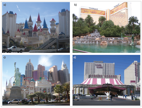 5. Thématisation architecturale des hôtels-casinos du Strip (P. Nédélec) a) Excalibur (2008) – b) The Mirage (2009) – c) New York New York (2008) – d) Circus Circus (2009)