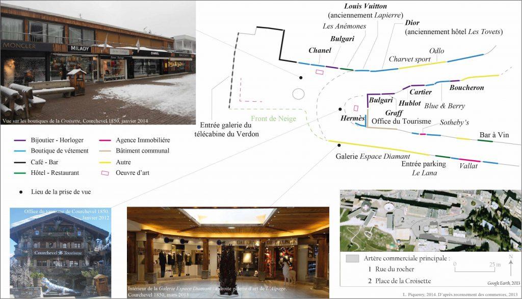 4. La représentation de l'élitisme des lieux à travers l'offre commerciale:le cas de la Croisette de Courchevel 1850 (Piquerey, 2014)