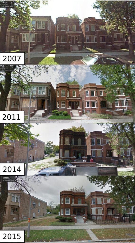 4. Micro-trajectoires de vacance à l'échelle fine : une portion de South Rhodes Street entre 62nd Street et 63rd Street de 2007 à 2015 (Source : Google Street View)