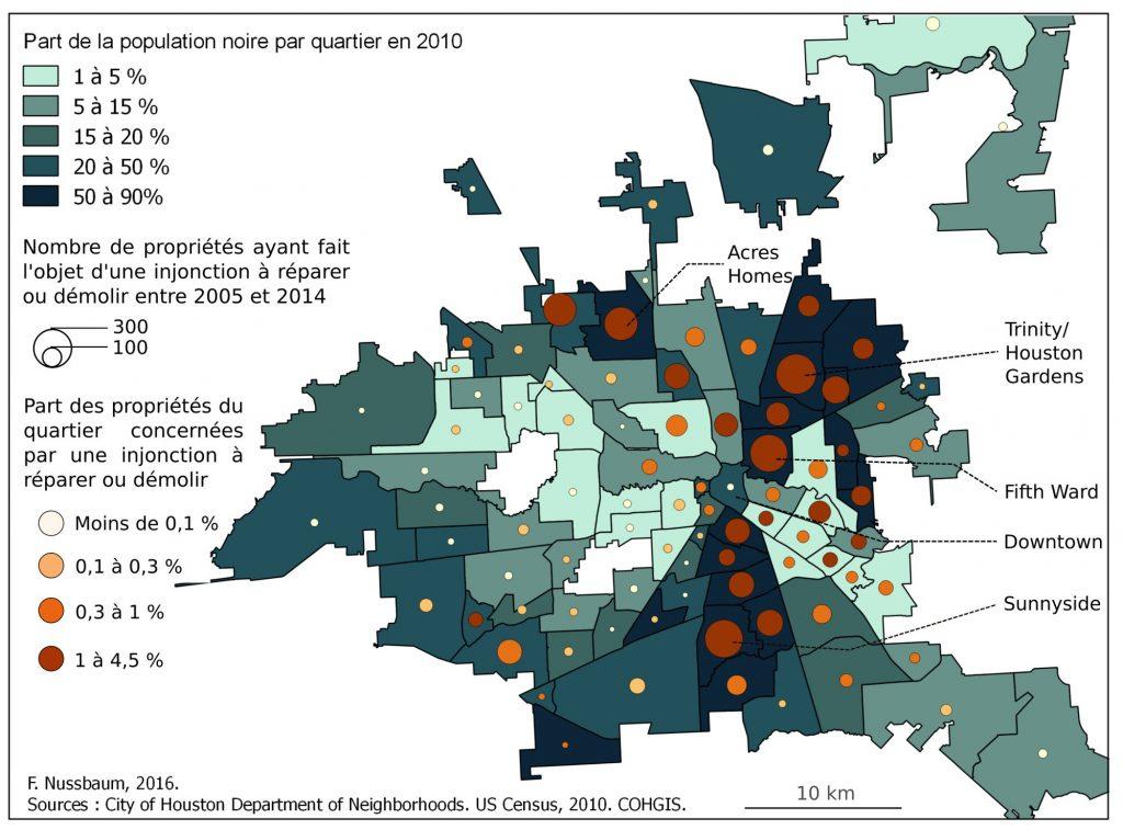5. Carte de la répartition des propriétés dégradées à Houston (Texas) : une surreprésentation dans les quartiers où la majorité des habitants est Afro-Américaine (Nussbaum, 2016).