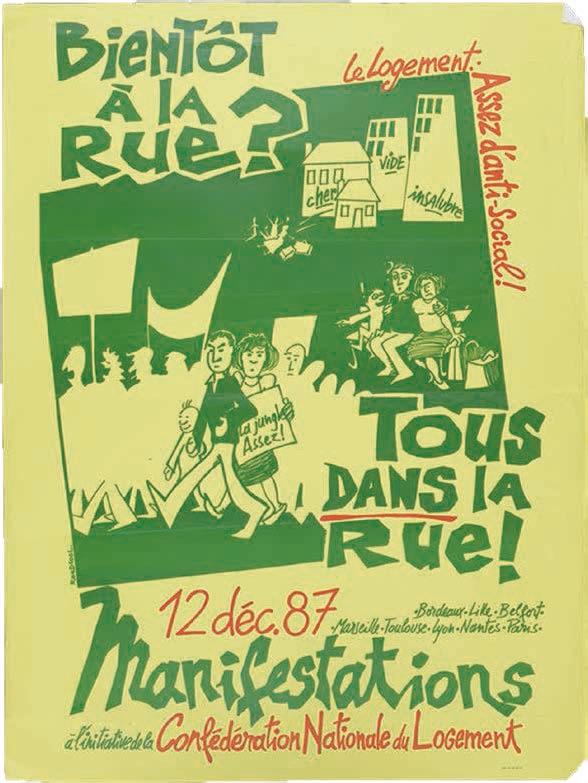 2. Affiche de RoodCool, « Bientôt à la rue ? Tous dans la rue ! » Manifestation nationale à l'initiative de la CNL, 1987