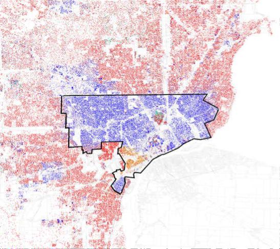 Répartition des groupes ethniques dans l'agglomération de Detroit en 2010 (En gras, les limites de la ville de Detroit. La carte représente en rouge la population blanche, en bleu la population africaine-américaine et en orange la population hispanique. Un point représente un individu.) (Weldon Cooper Center for Public Service, Université de Virginie, http://demographics.coopercenter.org/DotMap/)