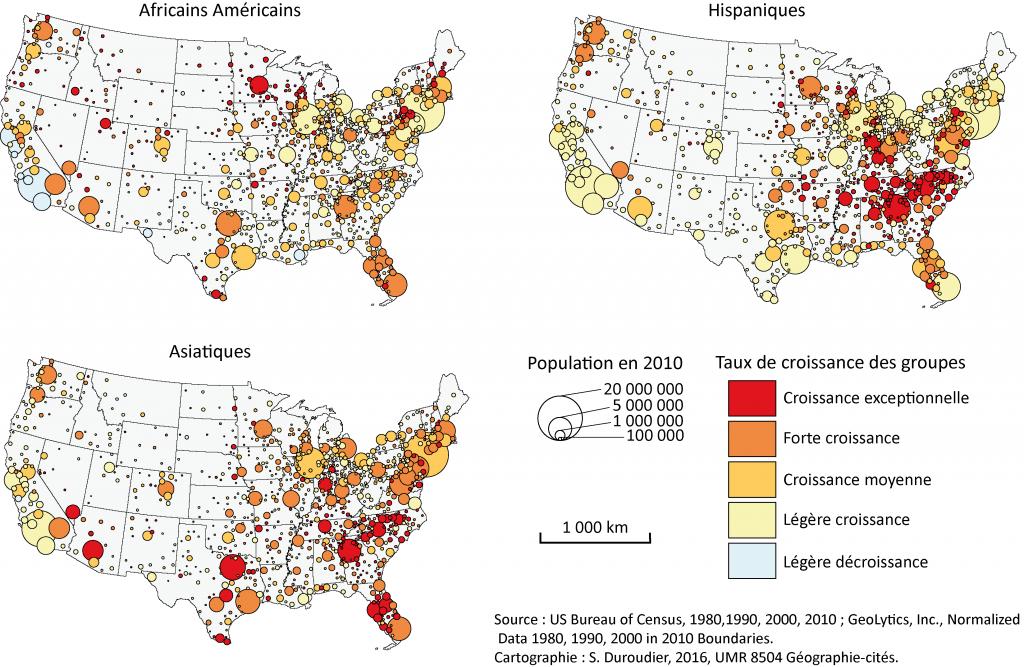 7. Croissance des groupes Africain-Américain, Asiatique et Hispanique dans les villes des États-Unis entre 1990 et 2010 (Duroudier,2016).