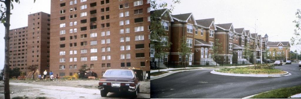 1. Le quartier Henry Horner de Chicago, avant (gauche) et après (droite) le programme HOPE VI (Calthorpe Associates, 1994)