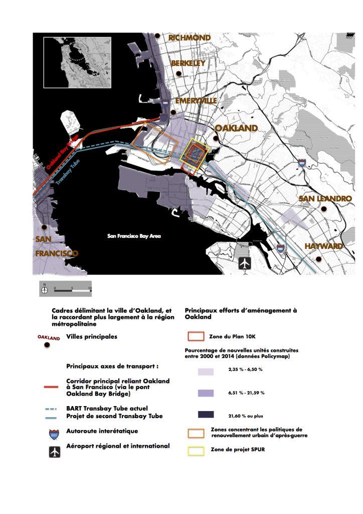 1. Carte de la ville d'Oakland située à l'est de la Baie de San Francisco. Les usagers s'y réfèrent en la désignant par le terme East Bay, qui comprend également d'autres villes telles Richmond, Berkeley, Emeryville ou Hayward (Maaoui, 2016).