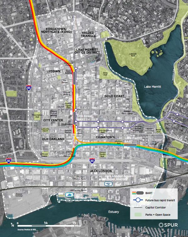 10. Carte de downtown Oakland extraite du premier rapport de SPUR Oakland (SPUR, 2015)