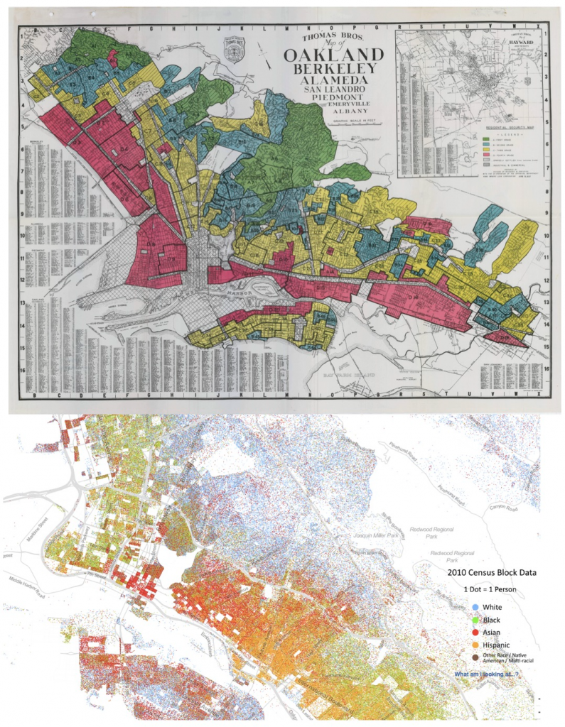 4. Carte instaurant le redlining à Oakland (Federal Housing Administration, 1936) ; Carte raciale du Weldon Cooper Center - University of Virginia à partir de l'US Census 2010 soulignant la permanence de la répartition spatiale des minorités des décennies plus tard, quasi-calquée sur les logiques de redlining (Weldon Cooper Center, 2013)