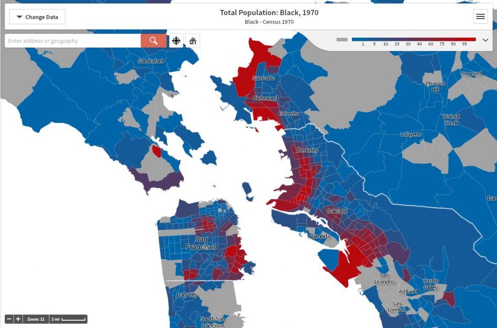 11. Localisation des populations se disant noires dans la baie de San Francisco, 1970 (Anti-Eviction Mapping Project, 2015)