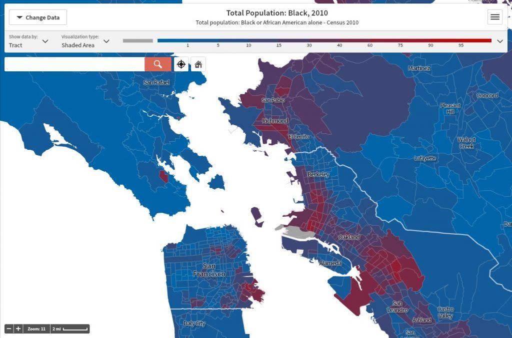 12. Localisation des populations se disant noires dans la baie de San Francisco, 2010 (Anti-Eviction Mapping Project, 2015)