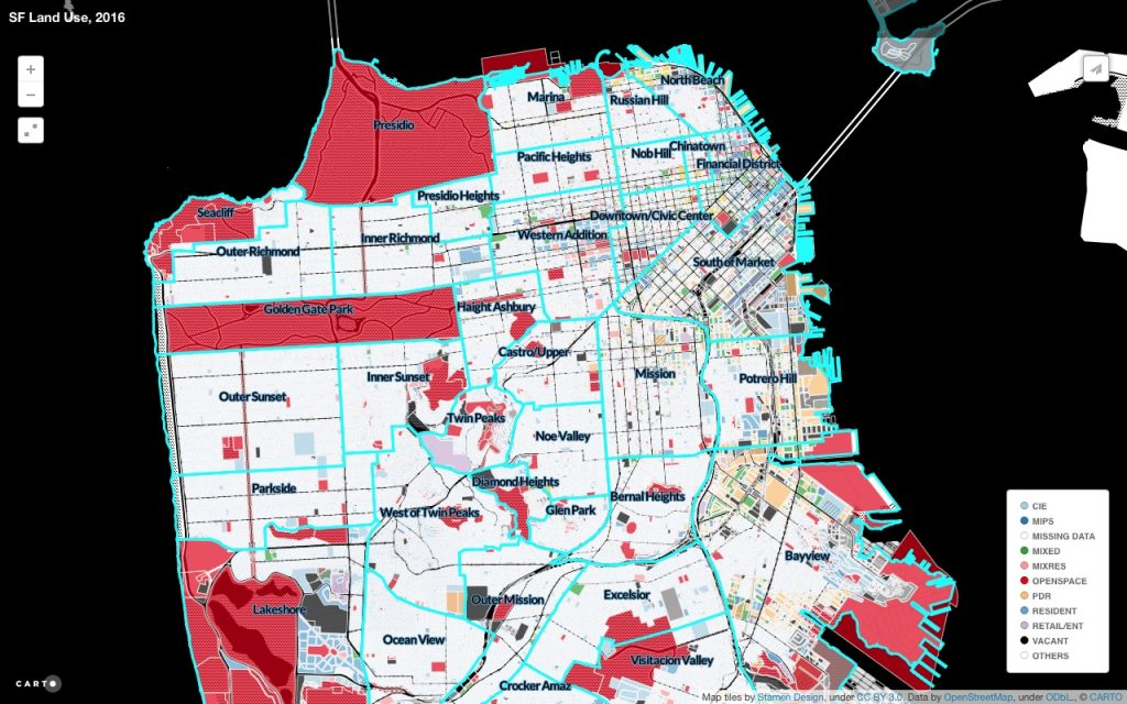 2. Usage des sols et toponymie des quartiers de San Francisco , (Anti-Eviction Mapping Project, 2016)
