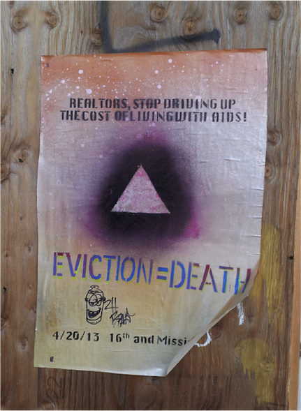 7. Affiche « Evictions = Death », 16th et Mission Street, San Francisco (Anti-Eviction Mapping Project, 2016)
