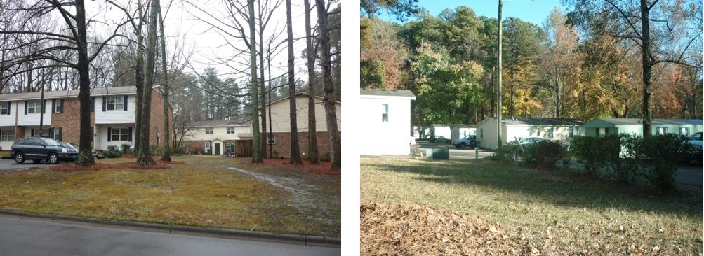 9. Au sein d'un census tract à Cary (Raleigh, NC): logements sociaux habités par des Noirs (à gauche) et parc de mobil-homes habités par des Hispaniques (à droite) (Duroudier, novembre 2014 et juillet 2015)