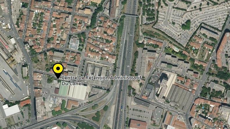 2. Localisation du CRA du Canet entre le boulevard Danièle Casanova, l'autoroute du Soleil (A7) et la bretelle (A557) (Capture Google maps)