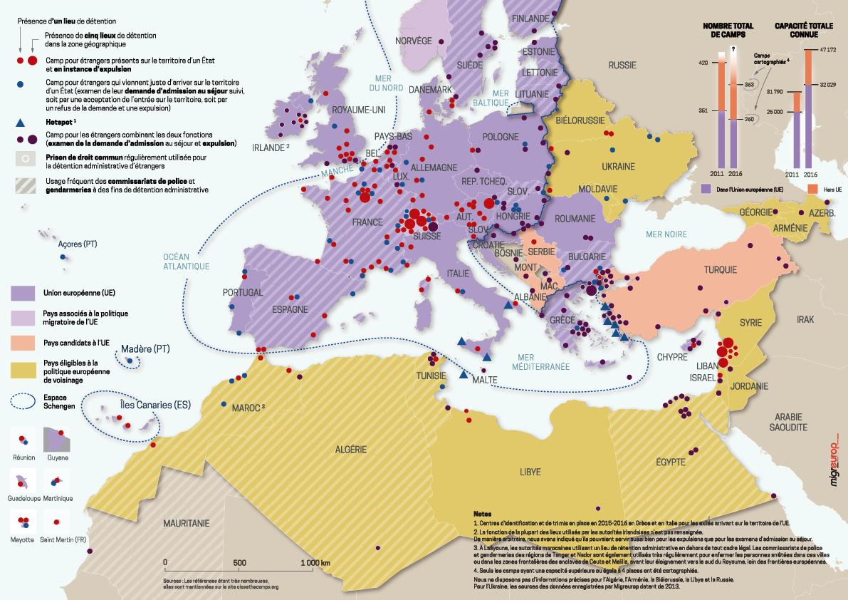 7. Les lieux de confinement en Europe (Migreurop, 2016)