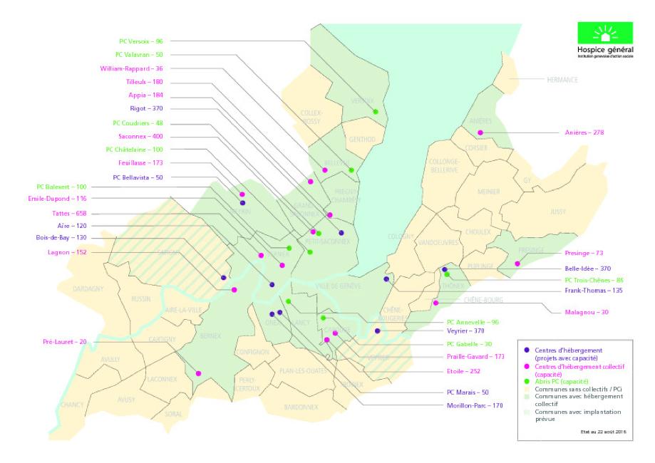 Localisation des structures d'hébergement collectif de l'Hospice général, Canton de Genève (Hospice général 2015)