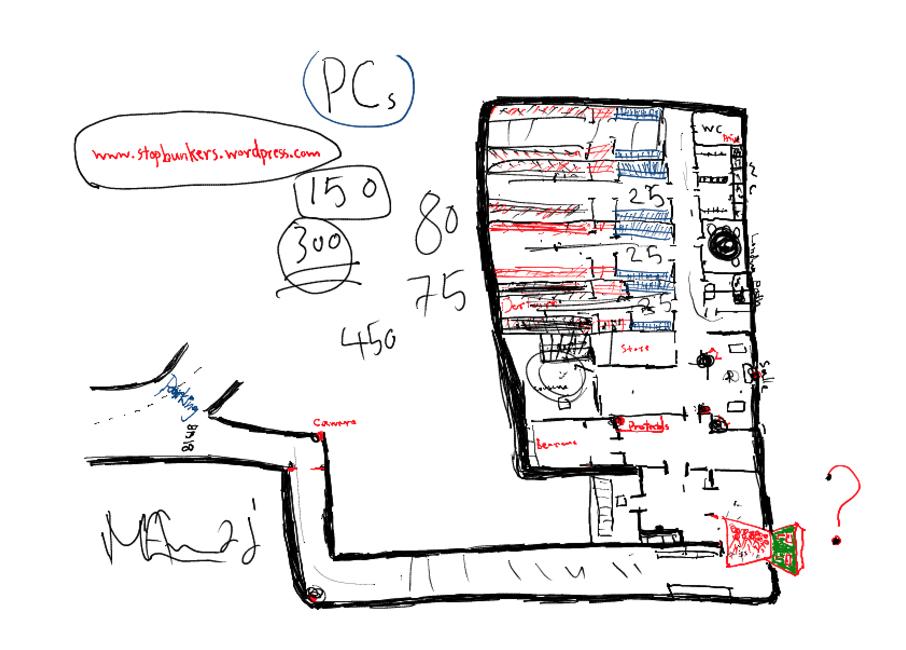 3. Carte de la structure interne de l'abri PC de Châtelaine dessinée par Mohammad Jadallah lors d'une conférence tenue à l'Université de Genève avec Cristina Del Biaggio, 19.11.2015.