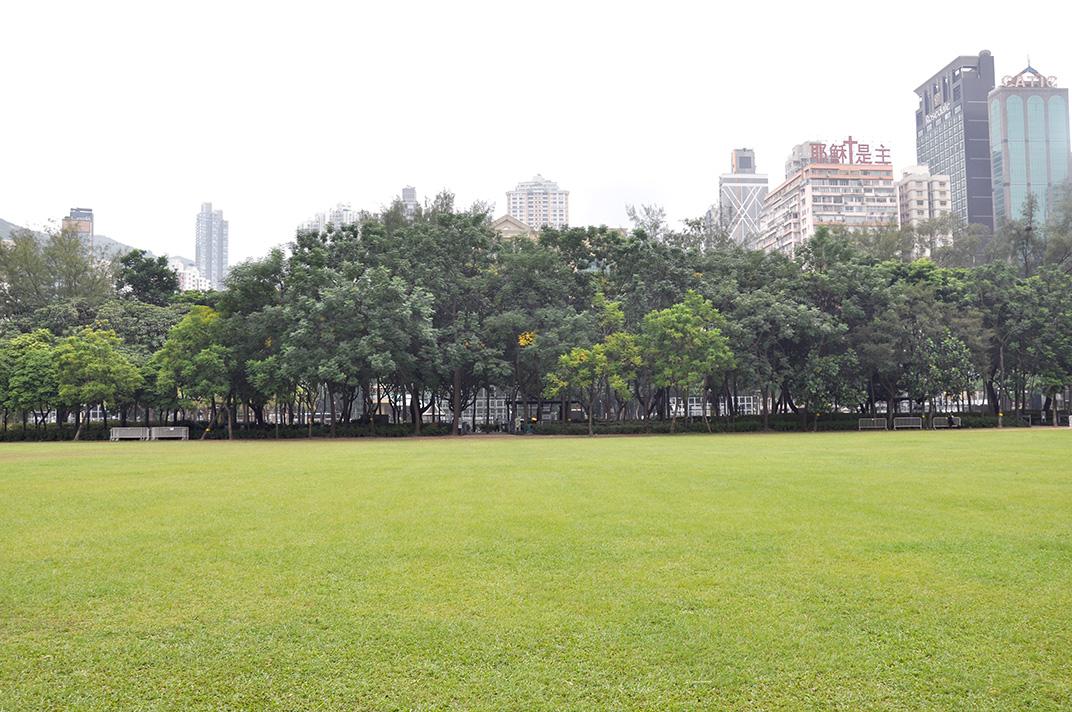 Victoria Park un jour de semaine. L'espace est désert.