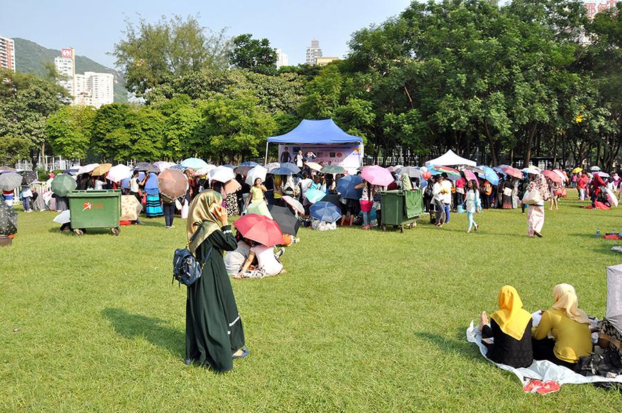 Victoria Park un dimanche. Activités culturelles ou politiques.
